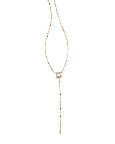 Pavé Diamond Square Bar Lariat Necklace