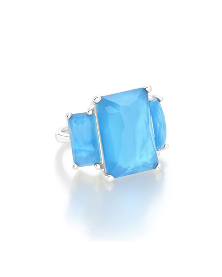 Ippolita Sterling Silver 3-Stone Large Rectangle Cocktail Ring
