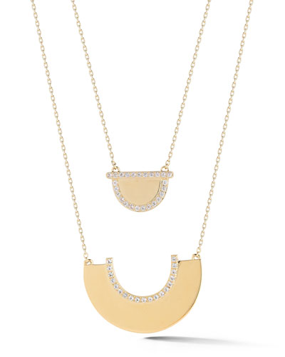 Kahlo Pavé White Topaz Double-Pendant Necklace