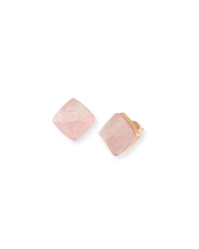 Pyramid Stud Earrings, Rose Golden/Blush