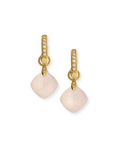 18K Rose Quartz Cushion Earring Charms