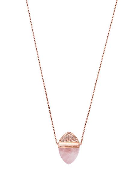 Crystal Acorn Pendant Necklace, Blush/Rose Golden