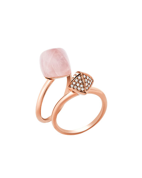 Blush Stacking Ring Set, Rose Golden