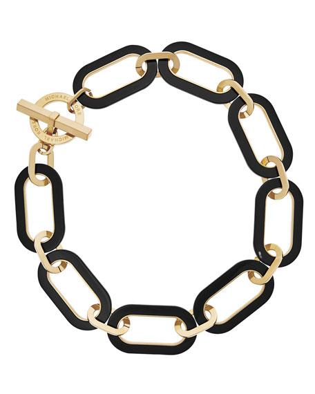 Michael Kors Large Enamel Link Necklace, Black/Golden