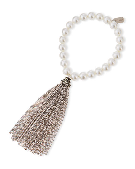 Lisa Freede Pearly Chain Tassel Bracelet