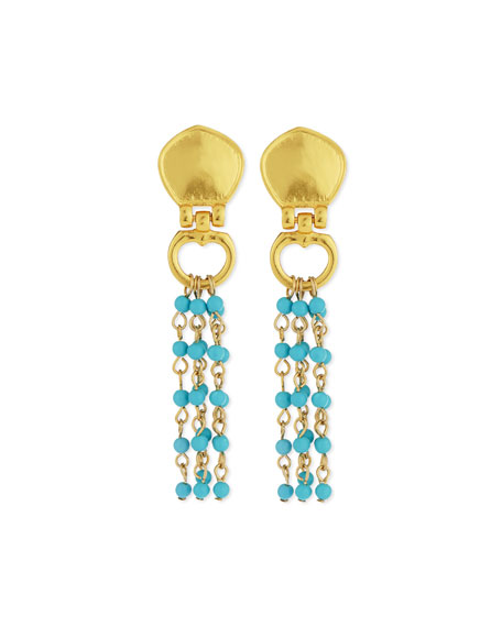 Stephanie Kantis Cleo Beaded Turquoise Drop Earrings