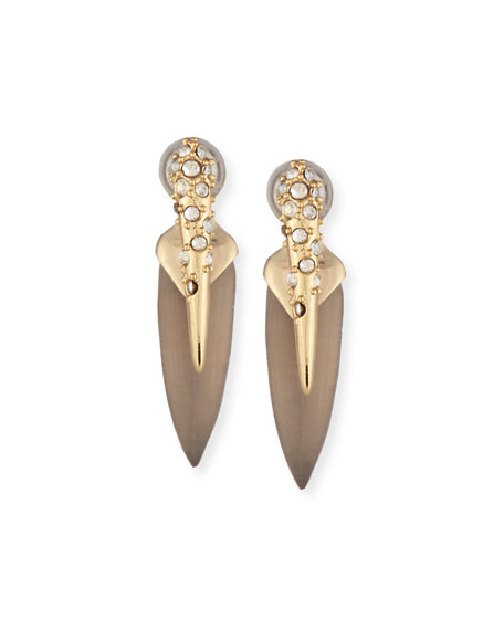 Crystal-Encrusted Lucite Spear Earrings, Warm Gray