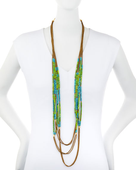 Green & Turquoise Howlite Multi-Strand Necklace