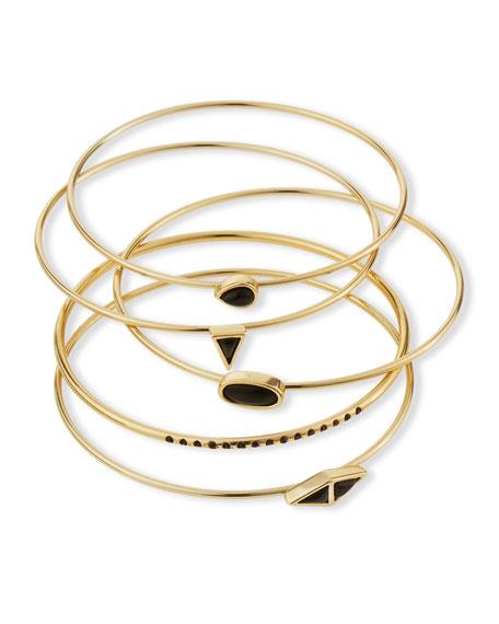 Jules Smith Canyon Set-Of-Five Bangle Bracelets, Black