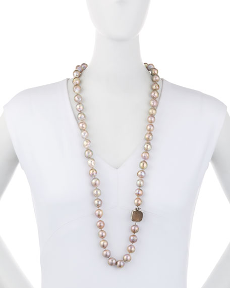 Long Champagne Pearl Single-Strand Necklace