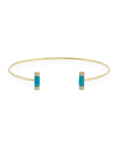 Double Turquoise Roll Cuff Bracelet with Diamonds