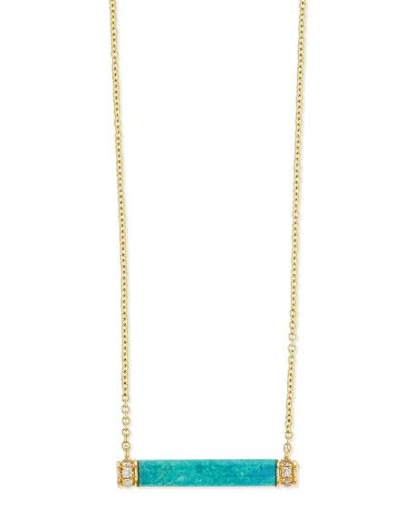 Sydney Evan Turquoise Bar Necklace with Diamond Trim