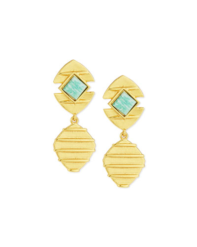 24K Amazonite Beehive Drop Earrings