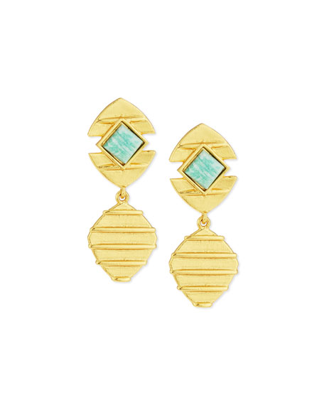 Stephanie Kantis 24K Amazonite Beehive Drop Earrings