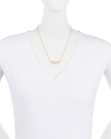 Pearly Pavé Crystal Bar Necklace