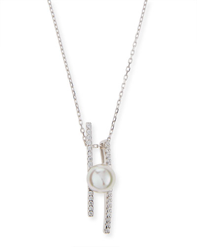 Pearly Pavé Crystal Bar Necklace
