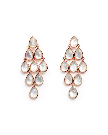 Rosé Rock Candy Teardrop Cascade Chandelier Earrings