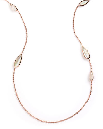 Rosé Rock Candy Teardrop-Station Necklace