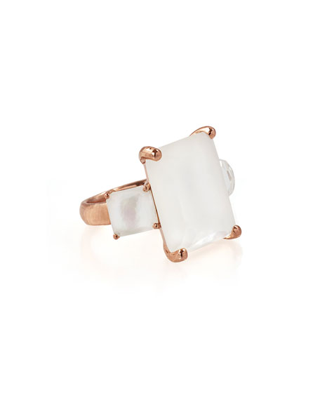 Rosé Rock Candy Three-Stone Ring in Doublet, Size 7