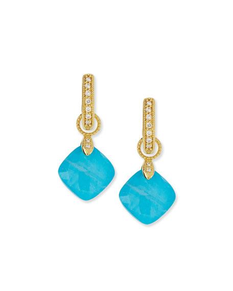 JudeFrances Jewelry 18K Turquoise Moonstone Cushion Earring