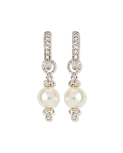 Small 18K White Gold Provence Pearl & Diamond Earring Charms