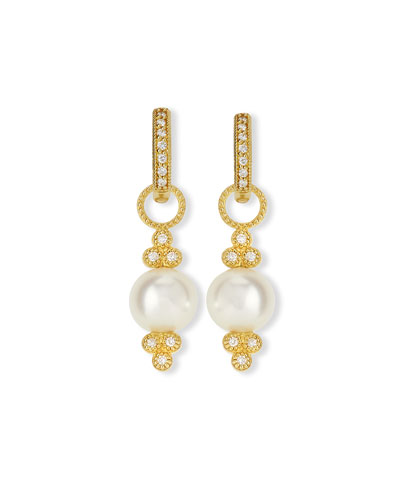 Small 18K Gold Provence Pearl & Diamond Earring Charms