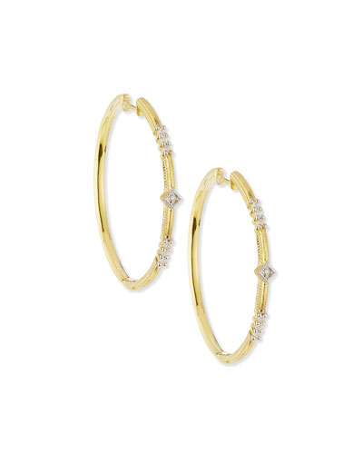 Lisse Triple Diamond Pavé Hoop Earrings