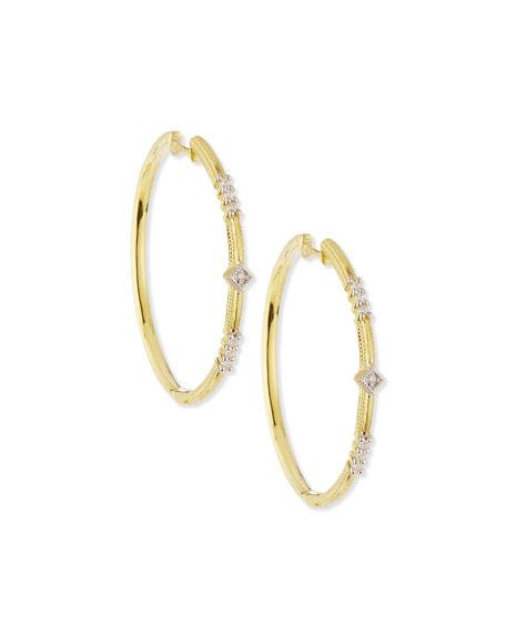 JudeFrances Jewelry Lisse Triple Diamond Pavé Hoop Earrings