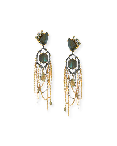 Labradorite & Crystal Chandelier Clip Earrings