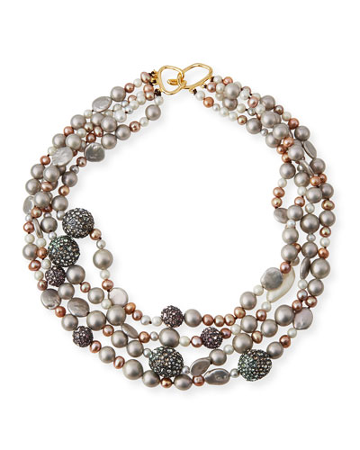 Three-Strand Pearly Bead & Pavé Sphere Bib Necklace
