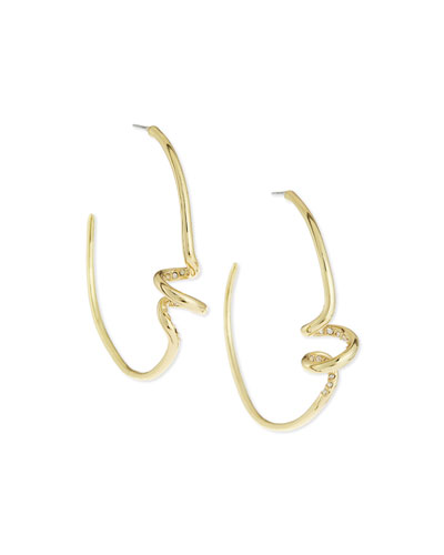 Golden Crystal Spiral Hoop Earrings