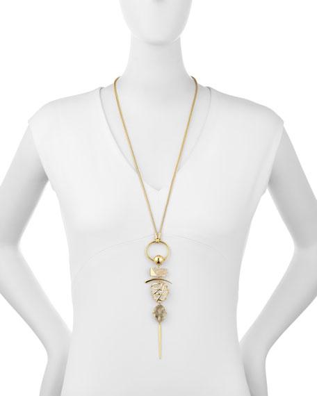 Caged Quartz Long Pendant Necklace