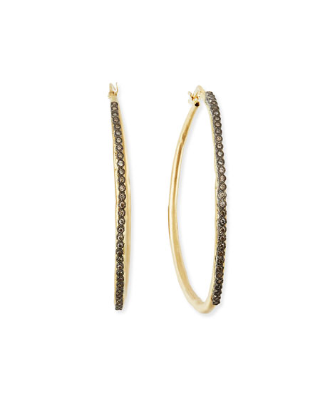 Armenta Old World Midnight Electroform Diamond Hoop Earrings