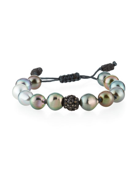 Old World Tahitian Pearl Pull-Cord Bracelet with Champagne Diamonds