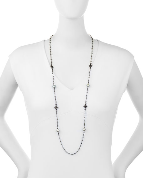 """Old World Tahitian Pearl Station Necklace with Champagne Diamonds, 39"""""""