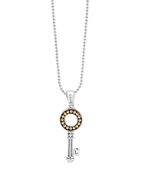 Beloved Small Circle Key Pendant Necklace
