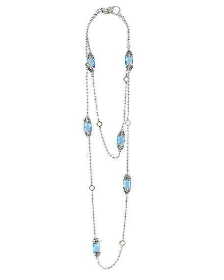 Caviar Color Blue Topaz Station Necklace