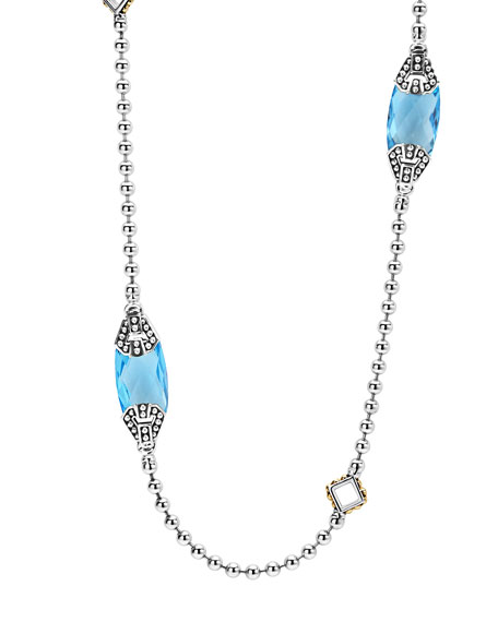 Lagos Caviar Color Blue Topaz Station Necklace