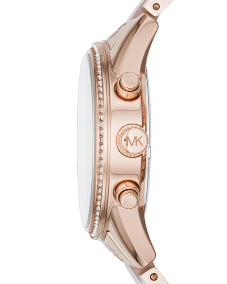 37mm Ritz Bracelet Strap Chronograph Watch, Rose Golden