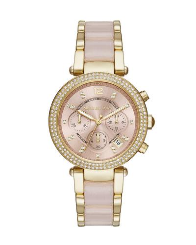 39mm Parker Crystal Chronograph Watch, Rose Golden