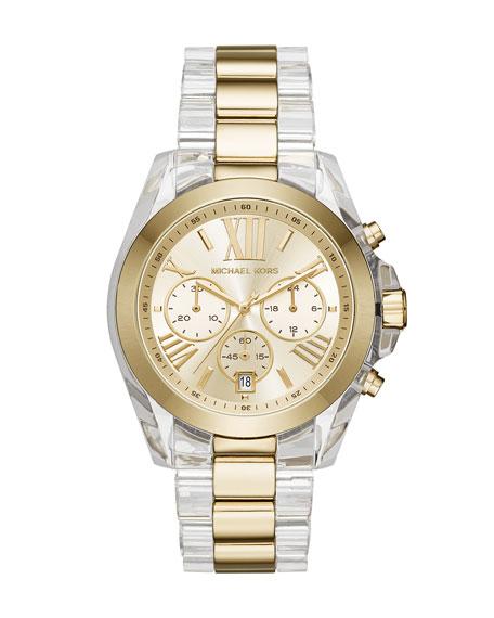Michael Kors 43mm Bradshaw Acetate Watch, Golden