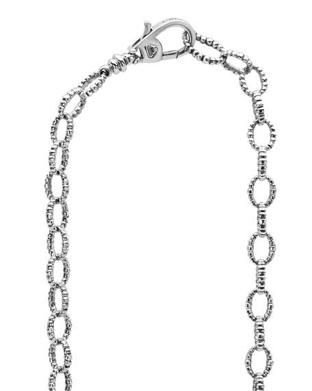 "Sterling Silver Love Knot Station Necklace, 34"""
