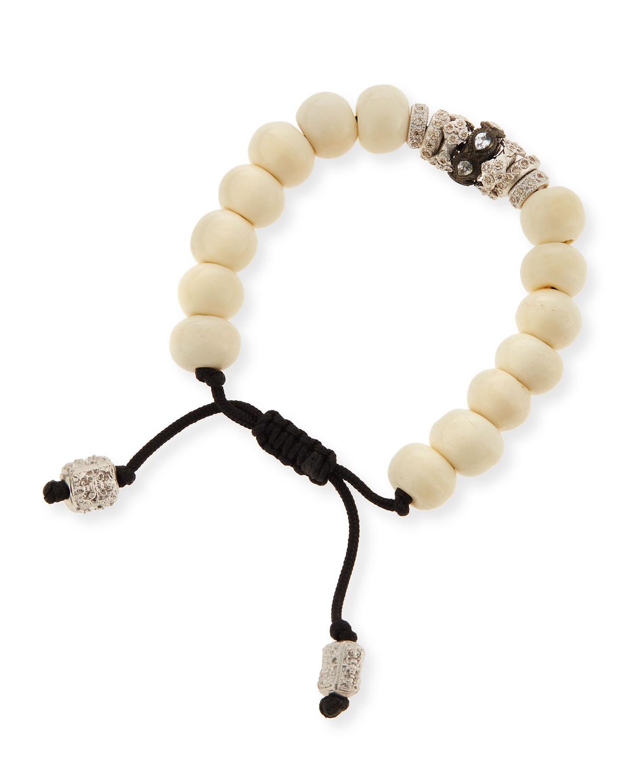 Armenta New World White Bone Bead Bracelet w/Diamonds uqIoggs