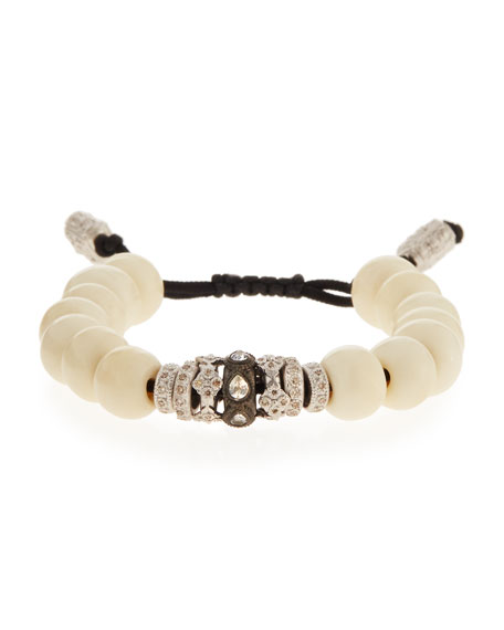 New World White Bone Bead Bracelet w/Diamonds