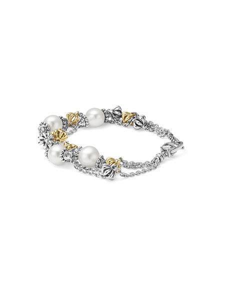 Luna Birdcage Three-Strand Pearl Bracelet, Size Medium