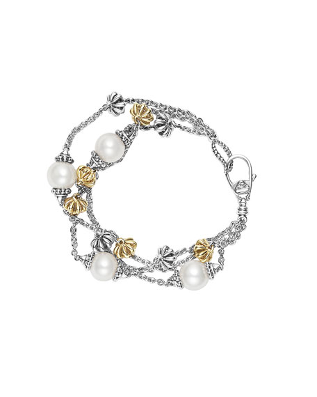 Lagos Luna Birdcage Three-Strand Pearl Bracelet, Size Medium