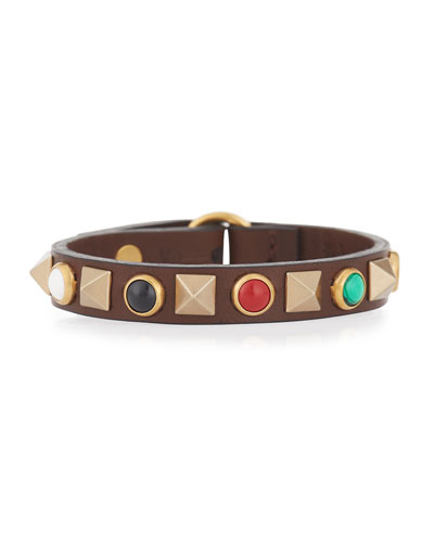 Rockstud Rolling Leather Bracelet with Cabochons
