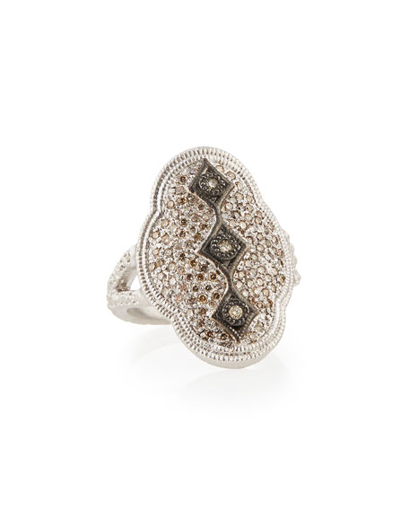 New World Midnight Scalloped Crivelli Ring with Diamonds, Size 7
