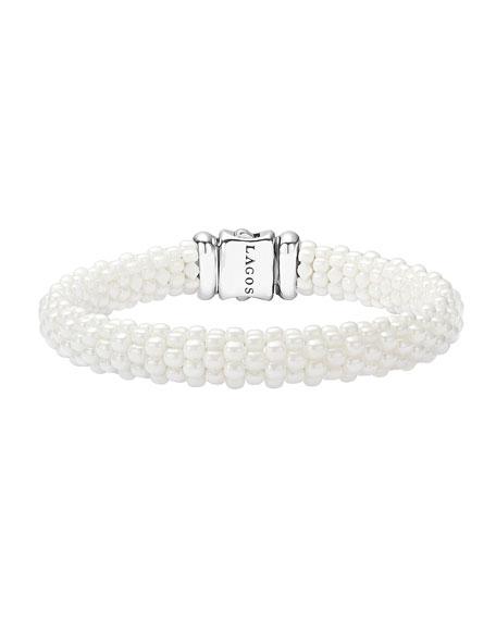 Lagos Medium Caviar Ceramic 9mm Bracelet, White