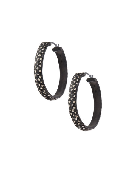 New World Midnight Wide Hoop Earrings with Diamonds